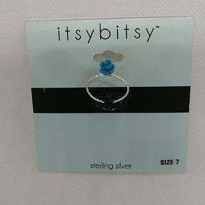 5/$25 Sterling Silver ring with Blue Rose,size 7